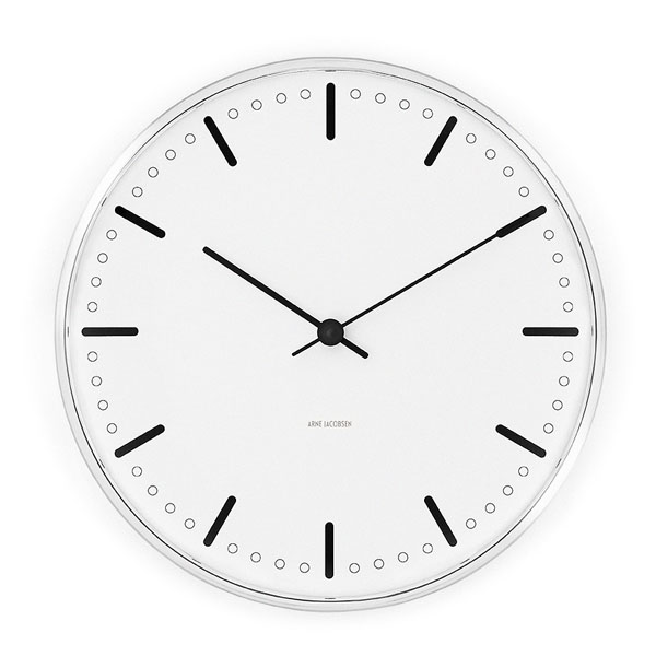 アルネヤコブセン 壁掛け時計 シティーホール クロック City Hall Clock ホワイト 29cm 43641 【正規品】 【送料無料】 【あす楽対応】