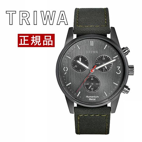【国内正規品】【ギフト包装無料】トリワ TRIWA ヒューマニウム メタル Humanium Metal メンズ 腕時計 コラボ クロノグラフ 径39mm HU39GCS-CL080912P 再生キャンバスグリーンベルト