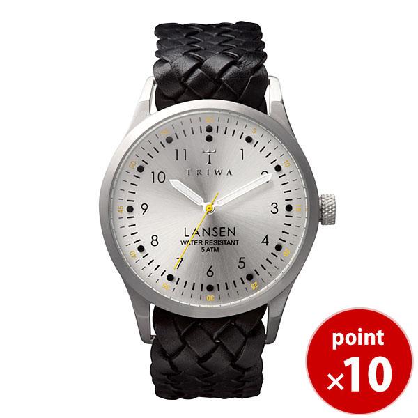 【国内正規品】【ギフト包装無料】トリワ TRIWA メンズ・レディース兼用 腕時計 LANSEN Stirling LAST102 シルバー×ブラック レザーメッシュベルト 【送料無料】