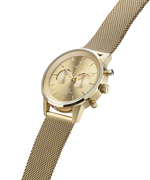 Thoria TRIWA men Lady's combined use watch chronograph STEEL NEVIL Gold NEST104 yellow gold stainless steel mesh belt