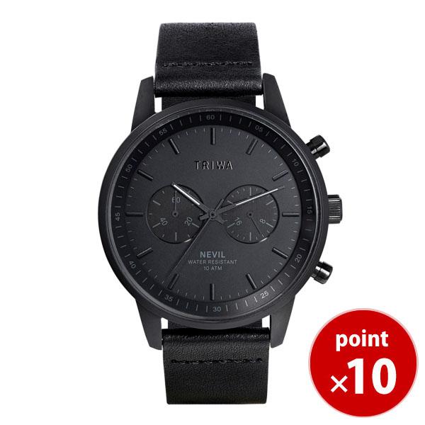 【国内正規品】【ギフト包装無料】トリワ TRIWA メンズ・レディース兼用 腕時計 径42mm クロノグラフ BLACK NEVIL NEST127-CL010101P ブラック×ブラウンレザーベルト 正規品 あす楽対応 送料無料 革