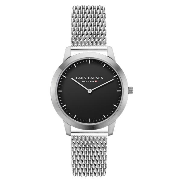 【40%OFF】ラースラーセン LARS LARSEN デンマーク製 腕時計 【38mm】 メンズ レディース LL135SBSM LW35 ブラックダイヤル×シルバーケース メッシュベルト 【送料無料】【あす楽対応】アウトレットセール品(返品・ギフト包装不可)
