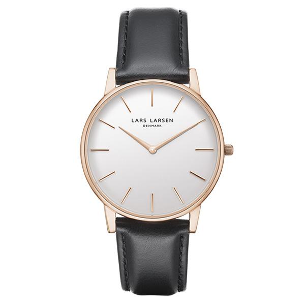 エルラーセン LLARSEN ラースラーセン LARS LARSEN デンマーク製 腕時計 Oliver 【39mm】 メンズ レディース LL147RWBLL LW47 ホワイトダイヤル×ピンクゴールドケース レザーベルト 送料無料 正規品 あす楽対応