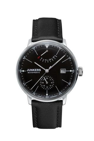 【国内正規品】【ギフト包装無料】ユンカース JUNKERS バウハウス Bauhaus 6060-2AT メンズ ドイツ製 機械式 自動巻き 腕時計 24時針 パワーリザーブ ブラックフェース ブラックレザーベルト 【送料無料】