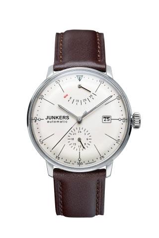 【国内正規品】【ギフト包装無料】ユンカース JUNKERS バウハウス Bauhaus 6060-5AT メンズ ドイツ製 機械式 自動巻き 腕時計 24時針 パワーリザーブ アイボリーフェース ダークブラウンレザーベルト 【送料無料】
