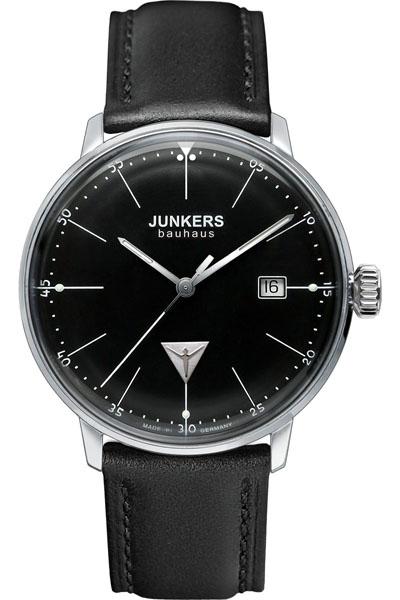 【国内正規品】【ギフト包装無料】ユンカース JUNKERS バウハウス Bauhaus 6070-2QZ メンズ ドイツ製 腕時計 カレンダー ブラックフェース ブラックレザーベルト 【送料無料】