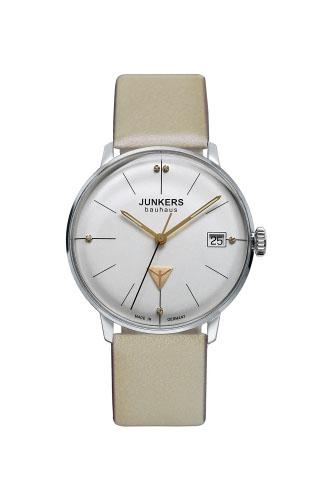 【国内正規品】【ギフト包装無料】ユンカース JUNKERS バウハウス Bauhaus 6073-5QZ レディース ドイツ製 腕時計 カレンダー シルバーフェース ベージュレザーベルト 【送料無料】