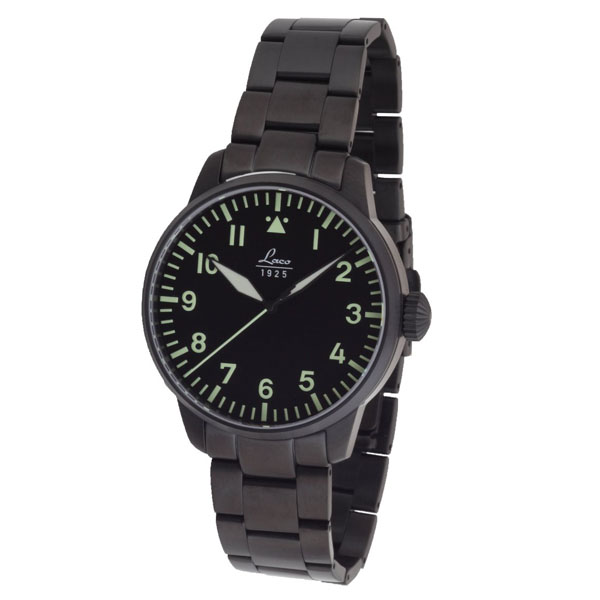 RACO LACO pilot watch Merbourne Melbourne 861899 men's made in Germany  mechanical automatic movement watch diameter 42 mm IP black finish SS metal