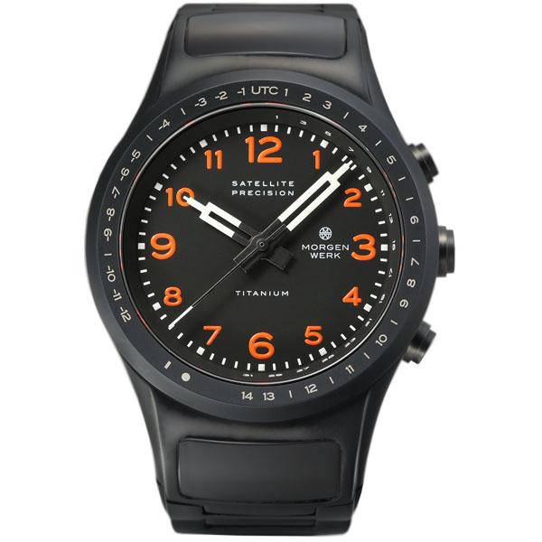 【国内正規品】【ギフト包装無料】モーゲンヴェルク MORGEN WERK 衛星電波時計 M1 TITANIUM MW002-51 世界限定50本 オレンジ文字 メタルベルト【送料無料】|腕時計 腕時計