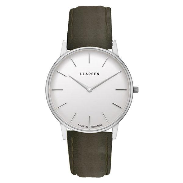 エルラーセン LLARSEN ラースラーセン LARS LARSEN デンマーク製 腕時計 Oliver 【39mm】 メンズ LL147SWFR LW47 ホワイトダイヤル×シルバーケース カーキレザーベルト 送料無料 正規品