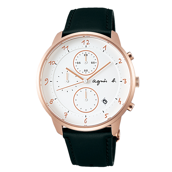 【国内正規品】 アニエスベー クロノグラフ マルチェロ agnes b. marcello 時計 腕時計 40.5mm ピンクゴールド×ブラック FBRW989 メンズ アニエス・ベー アニエスb. 【送料無料】