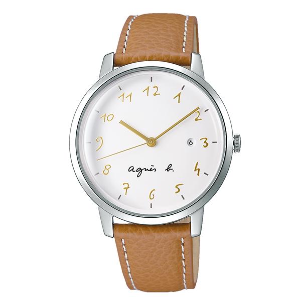 【国内正規品】 アニエスベー マルチェロ カレンダー agnes b. marcello 時計 腕時計 38mm シルバー×ライトブラウン FCRK989 メンズ 男女兼用 アニエス・ベー アニエスb. 【送料無料】