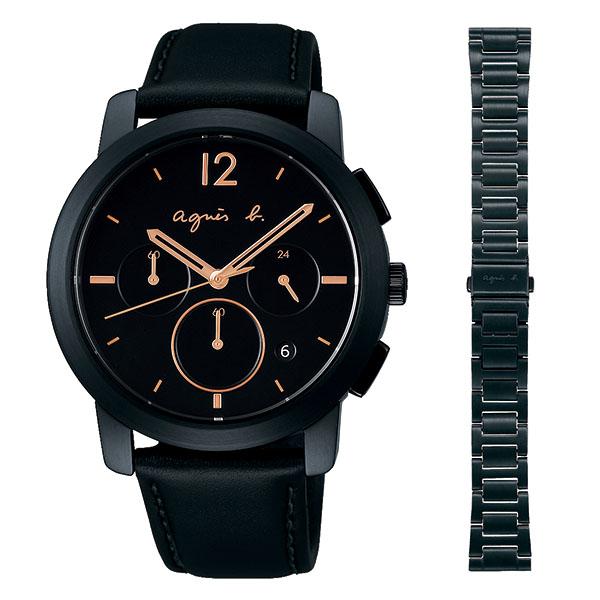 【国内正規品】 アニエスベー クロノグラフ オム agnes b. 腕時計 40mm ベルト2本セット(スペアベルト付き) FCRT963 メンズ アニエス・ベー アニエスb. 【送料無料】あす楽対応