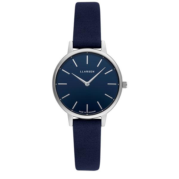 【最新作】【国内正規品】【ギフト包装無料】【限定生産モデル】エルラーセン×SUKUMOレザー LLARSEN デンマーク製 腕時計 【30mm】 メンズ レディース LL146SDSAI LW46 ブルーダイヤル×シルバーケース 藍 | 北欧時計 革ベルト 【送料無料】【あす楽対応】