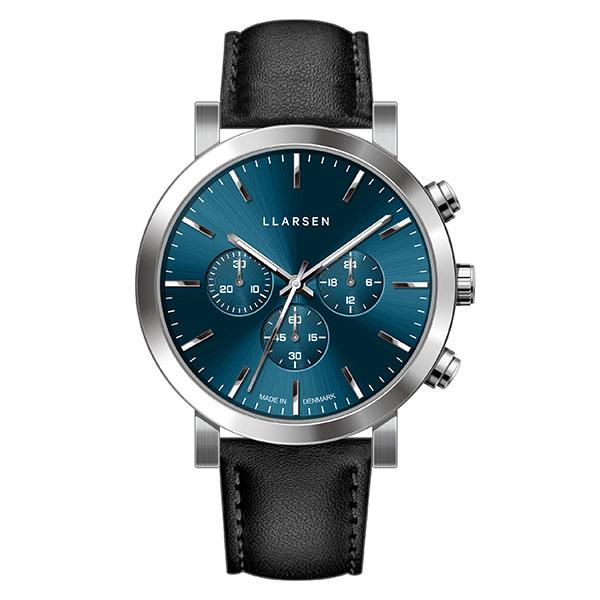 【2020春】エルラーセン LLARSEN ラースラーセン LARS LARSEN デンマーク製 腕時計 NOR 【42mm】 メンズ レディース LL149SDIK クロノグラフ ブルーダイヤル×シルバーケース インク(黒)レザーベルト 送料無料 正規品