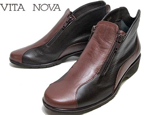 【あす楽】ビタノバ VITA NOVAサイドファスナーアンクルブーツダークブラウンコンビ【レディース・靴】