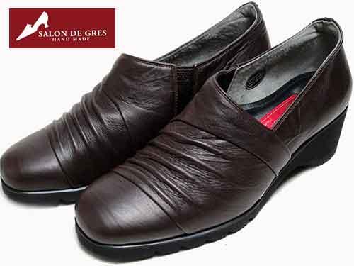 サロンドグレ SALON DE GRE コンフォートカジュアルシューズ ダークブラウン レディース 靴