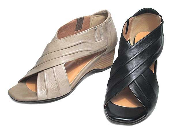 【あす楽】モード カオリ MODE KAORI クロスベルトウェッジソールサンダル レディース 靴