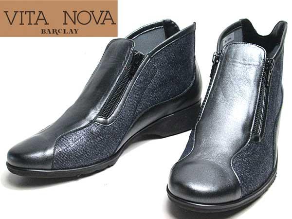 【あす楽】ビタノバ VITA NOVA サイドファスナーアンクルブーツ ブラックメタリックコンビ レディース 靴