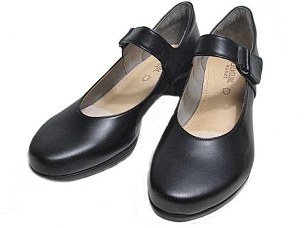 【あす楽】プレミアムモネ PREMIUM Monet P8820 ワイズ 3E ベルト付きカジュアルパンプス ブラック レディース 靴