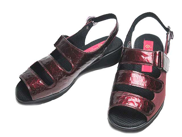 【あす楽】サロンドグレー SALON DE GRES SL368 コンフォートサンダル ワインクロコ型 レディース 靴