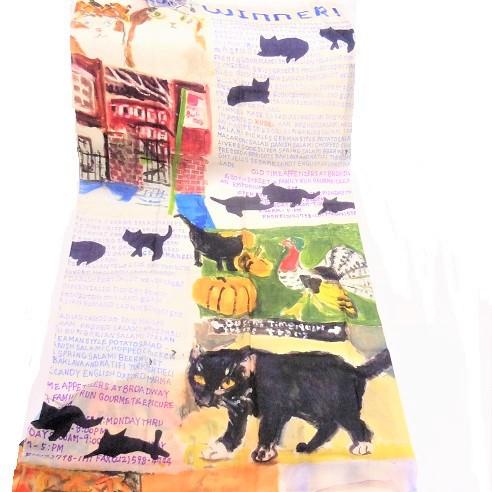 Manhattaner's マンハッタナーズ ウールストール「NY猫絵暦10月と11月」