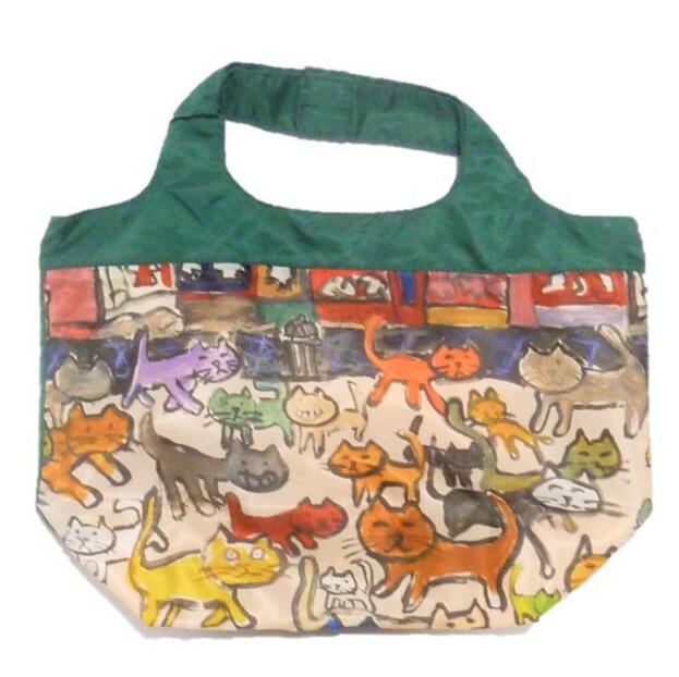 荷物が増えたときには活躍するコンパクトバッグ 軽くて使いやすさが人気の秘密です パッと目を引くタウン用にも Manhattaner's ショッピングバッグ 販売 コンパクトバッグC 猫の花道 セール価格 マンハッタナーズ
