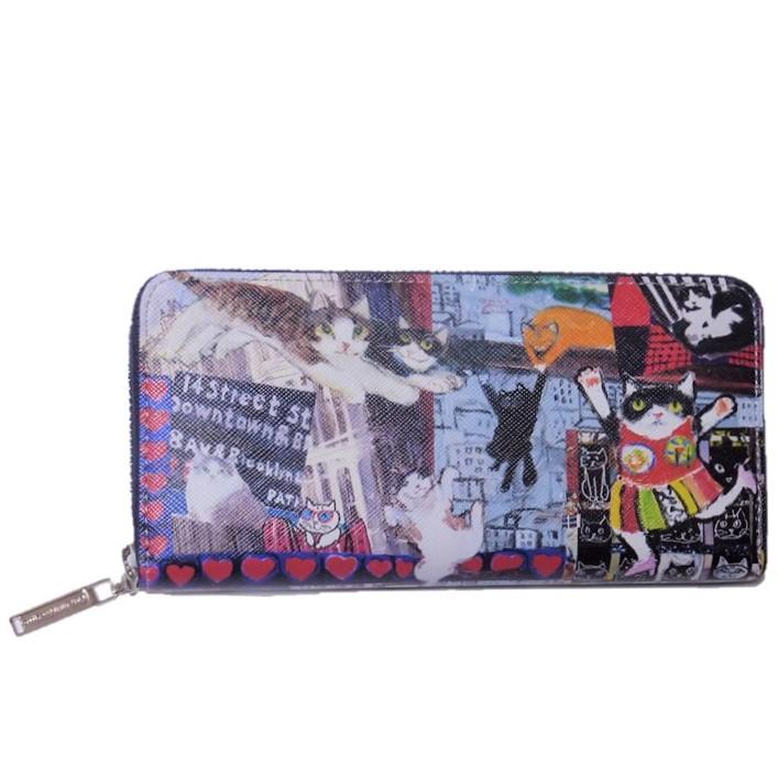 Manhattaner's マンハッタナーズ ラウンド長財布  「飛んでるマンハッタン」 「猫雑貨」「ネコグッズ」