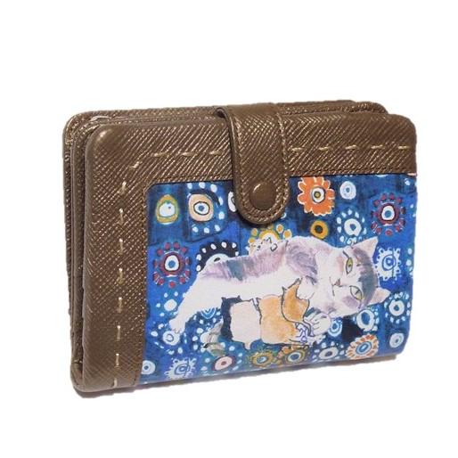 Manhattaner's マンハッタナーズ 二つ折り財布 小銭アウトポケットL字ファスナータイプ 「ミケちゃん母さん」