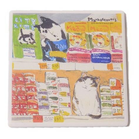 アウトレットセール 特集 お気に入り 猫たちが可愛く描かれたおしゃれなコースター マンハッタナーズコースター グルメ猫