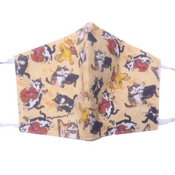 猫たちが可愛く描かれたおしゃれなマウスカバー マンハッタナーズ 即納最大半額 オールスター猫演奏家 大注目 マスク