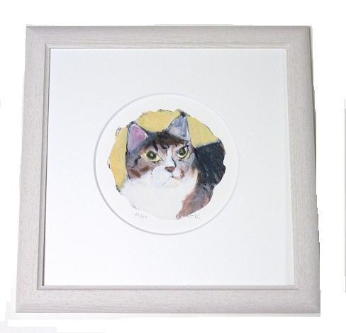 マンハッタナーズ版画 「丸い愛猫とミケランジェラ」