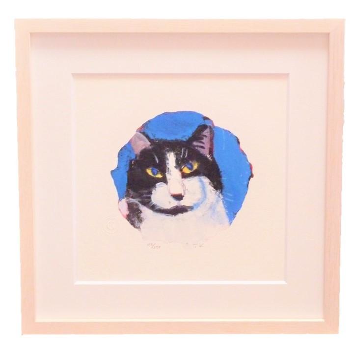 マンハッタナーズ 版画「丸い愛猫とマーベリック・クマ」