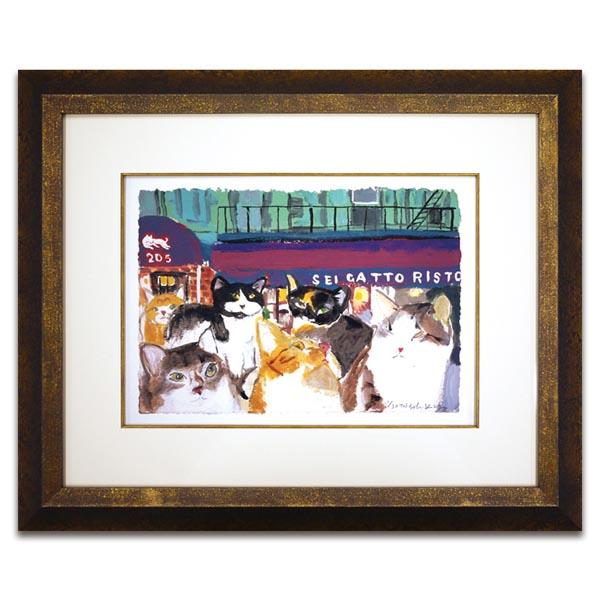 マンハッタナーズ 版画「6匹猫のリストランテ」