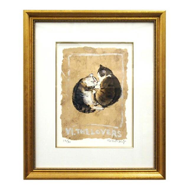 """マンハッタナーズ 版画TAROT FOR CATS 猫のタロットカード """"VI. The Lovers""""「恋人」"""