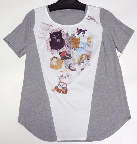 マンハッタナーズ Tシャツ カットソーブラウス 「シティ・クリッピングコラージュ」
