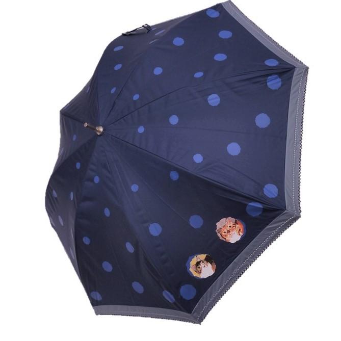Manhattaner's マンハッタナーズ 婦人ショート傘 晴雨兼用傘 日傘「丸い猫たち」