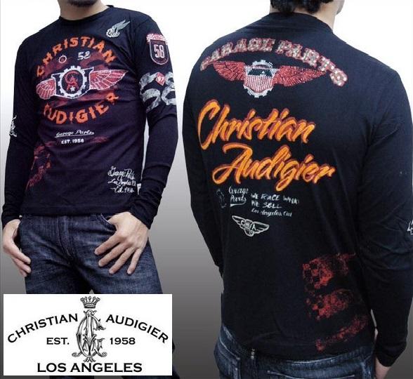 【セール】 クリスチャンオードジェー メンズ 長袖 ロンT Christian Audigier FLAME THROWERS ブラック Tシャツ インポート ハリウッド LAセレブ ファッション カジュアル セレカジ 正規品 エドハーディー Ed Hardy 姉妹ブランド ストリート ロック スタイル ブランド