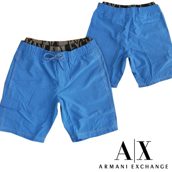 A X Armani Exchange アルマーニエクスチェンジ メンズ 水着 レイヤード ブルー インナーメッシュ付き ストレッチ スイムウェア ボードショーツ パンツ アメカジ サーフ セレカジ インポート カジュアル スタイル ファッション