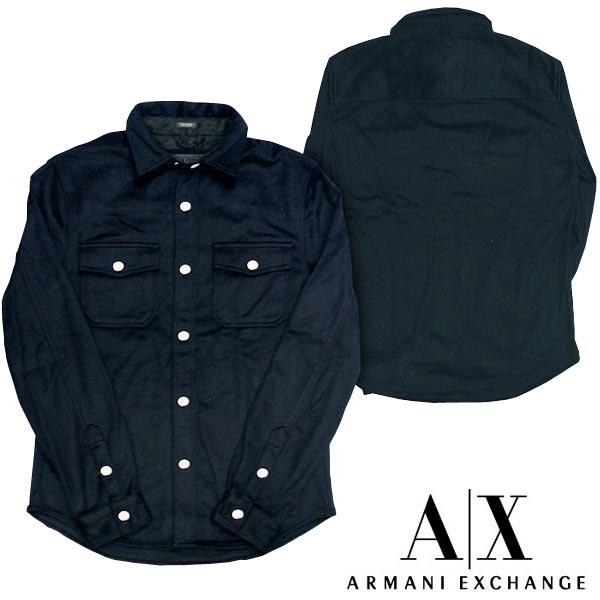 A|X Armani Exchange アルマーニエクスチェンジ メンズ 長袖 ウール シャツ ジャケット ネイビー アメカジ イタカジ アウター セレカジ インポート カジュアル スタイル ファッション 022