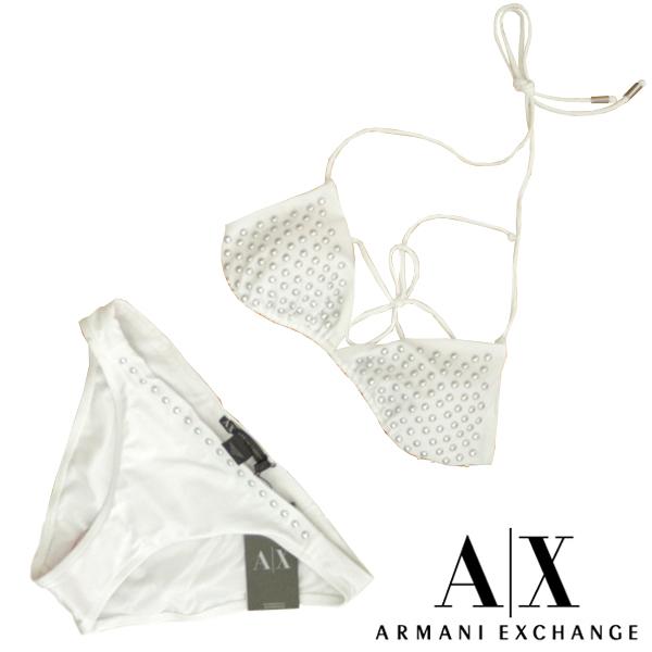 A|X Armani Exchange アルマーニエクスチェンジ レディース 水着 スタッズ ホワイト ビキニ アメカジ サーフ セレカジ インポート カジュアル スタイル ファッション