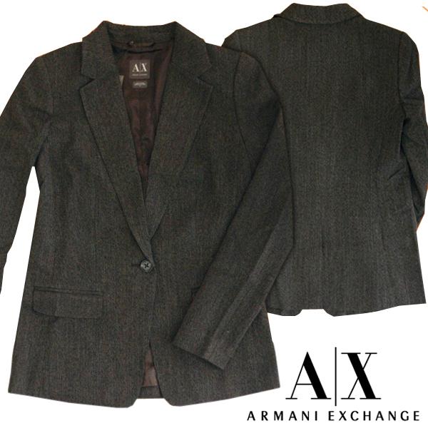 A X Armani Exchange アルマーニエクスチェンジ レディース テーラードジャケット 1つボタン シングル ジャケット ダークグレー トップス アメカジ サーフ セレカジ インポート カジュアル スタイル ファッション