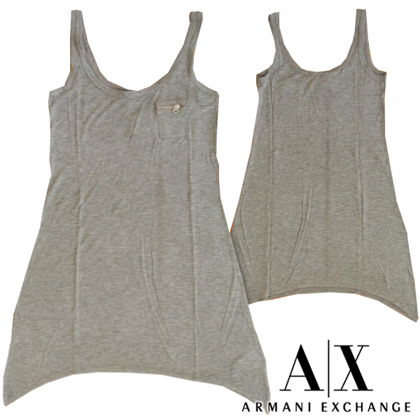 A|X Armani Exchange アルマーニエクスチェンジ レディース ポケットタンクトップ チュニック ロング丈 グレー Aライン トップス アメカジ サーフ セレカジ インポート カジュアル スタイル ファッション