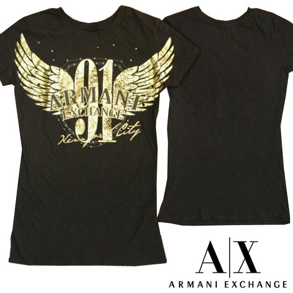 A|X Armani Exchange アルマーニエクスチェンジ レディース 半袖 スタッズ Tシャツ ロング丈 ブラック ゴールド トップス アメカジ サーフ セレカジ インポート カジュアル スタイル ファッション