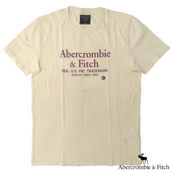 アバクロ Abercrombie&Fitch アバクロンビー&フィッチ メンズ 半袖 Tシャツ ABERCROMBIE AND FITCH A&F ライトイエロー アメカジ ブランド ファッション インポート カジュアル ヴィンテージ スタイル 正規 商品 135