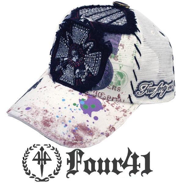 Four41 Los Angeles フォーフォーティーワン キャップ スワロフスキー ホワイト 064 インポート メンズ レディース 帽子 インポート セレブ セレカジ アメカジ ストリート サーフ LA セレブ Ed Hardy エドハーディー ファッション ROCK ロック スタイル 好きに◎