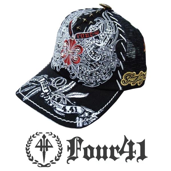 Four41 Los Angeles フォーフォーティーワン キャップ スワロフスキー ブラック 08 インポート メンズ レディース 帽子 インポート セレブ セレカジ アメカジ ストリート サーフ LA セレブ Ed Hardy エドハーディー ファッション ROCK ロック スタイル 好きに◎