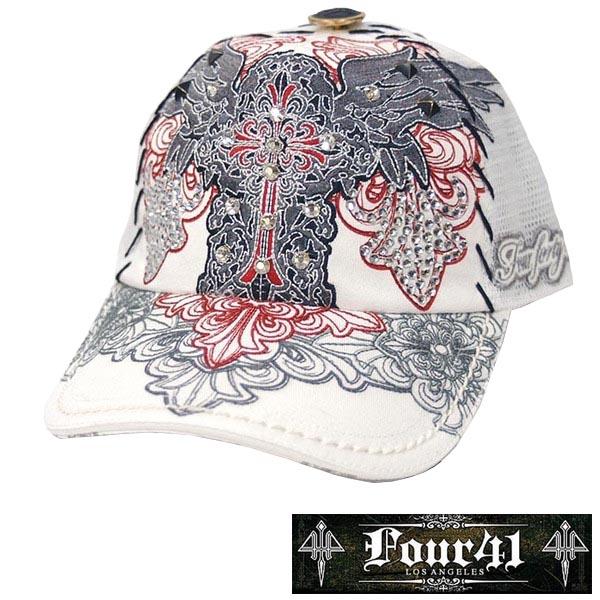 Four41 Los Angeles フォーフォーティーワン キャップ スワロフスキー ホワイト 046 インポート メンズ レディース 帽子 インポート セレブ セレカジ アメカジ ストリート サーフ LA セレブ Ed Hardy エドハーディー ファッション ROCK ロック スタイル 好きに◎