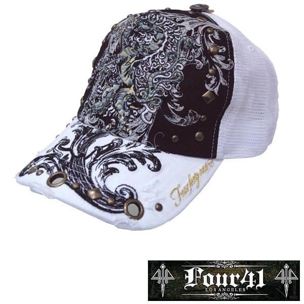Four41 Los Angeles フォーフォーティーワン キャップ スタッズ ホワイト 026 インポート メンズ レディース 帽子 インポート セレブ セレカジ アメカジ ストリート サーフ LA セレブ Ed Hardy エドハーディー ファッション ROCK ロック スタイル 好きに◎