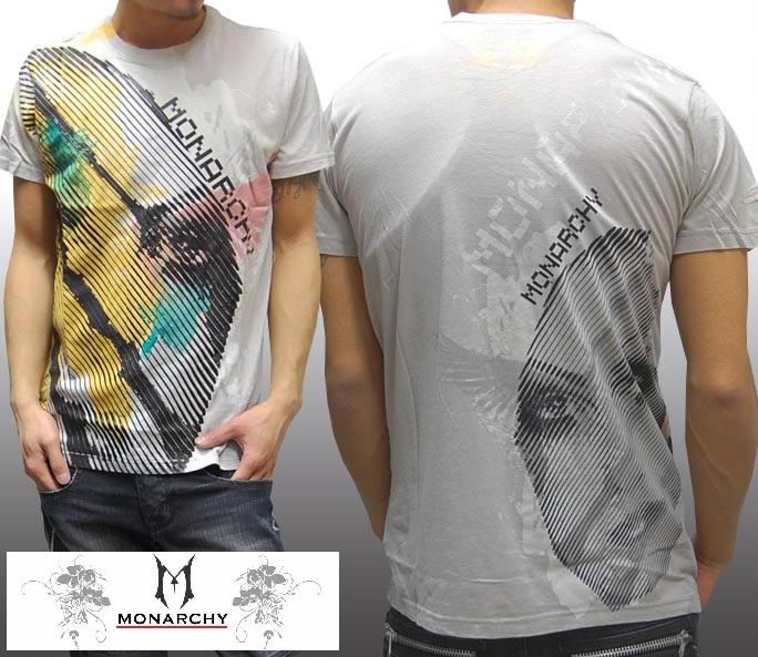 モナーキー メンズ Tシャツ グレー MONARCHY BLIND 半袖 シャツ LA発 海外セレブ 多数着用 プレミアム ブランド LAセレブ ハリウッド セレブ カジュアル セレカジ ファッション ロック スタイル セール